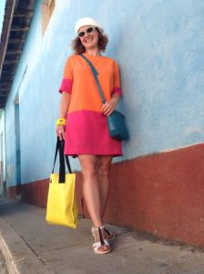 Martina in Trinidad wearing a dress made by London label D4DISCUS, using vintage fabric.