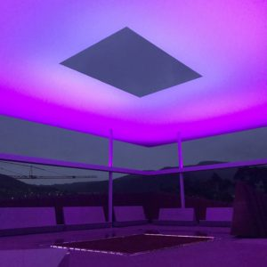 James Turrell turning everything into a mauve colour at Mona.