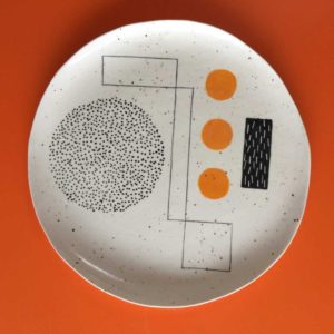 Sally McGill large ceramic plate with orange