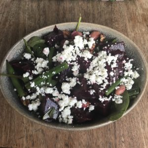 Beetroot salad with feta cheese
